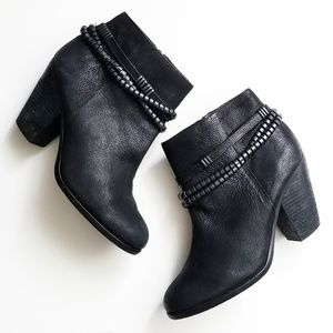 Vince Camuto black moto ankle chain booties